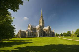 Beautiful Salisbury Cathedral on a sunny day